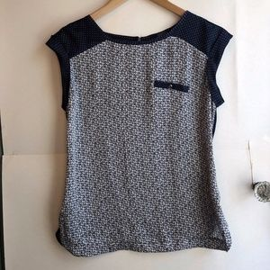 THE LIMITED Navy Blue Cream Floral Polka Dot Top